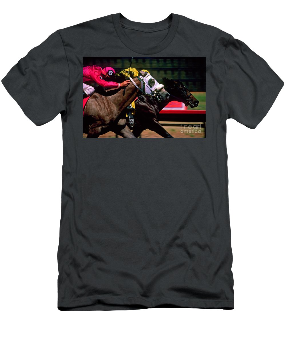 Horse T-Shirt featuring the photograph Photo Finish by Kathy McClure