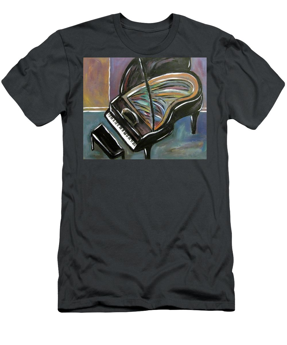 Impressionist Men's T-Shirt (Athletic Fit) featuring the painting Piano With High Heel by Anita Burgermeister
