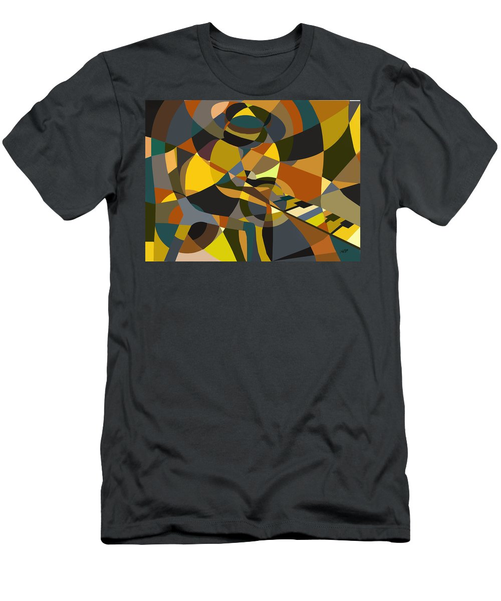 Music Men's T-Shirt (Athletic Fit) featuring the painting Pianoman Revisited by James Mingo