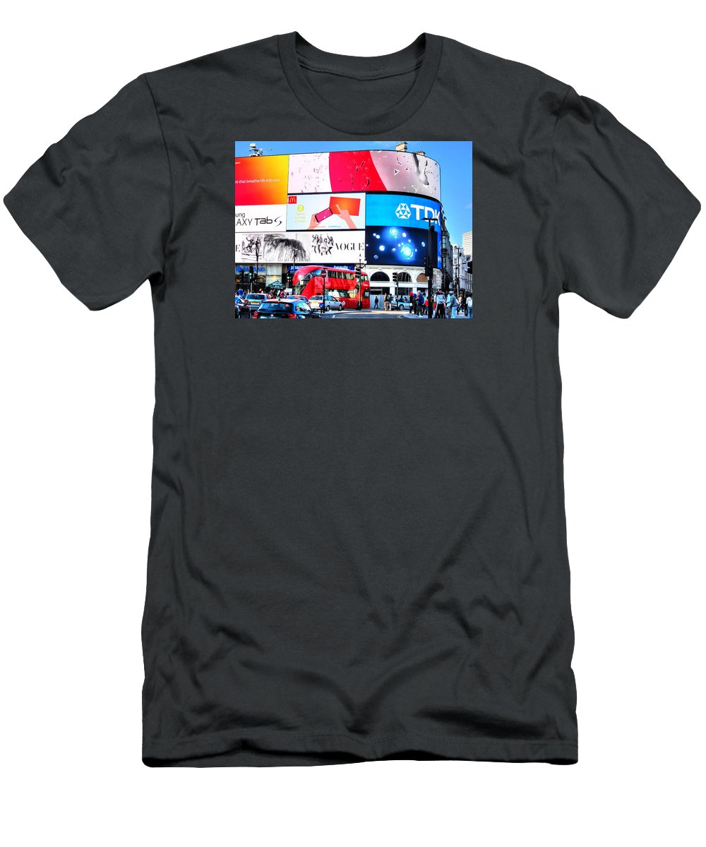 London Men's T-Shirt (Athletic Fit) featuring the photograph Piccadilly Magic by Andreas Thust