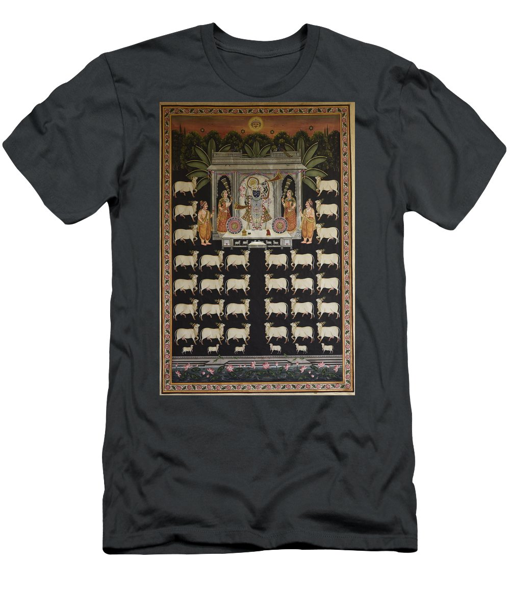 Pichwai Men's T-Shirt (Athletic Fit) featuring the painting Pichwai 201 by Pichwai Pichvai Pichhavai Pitchwai