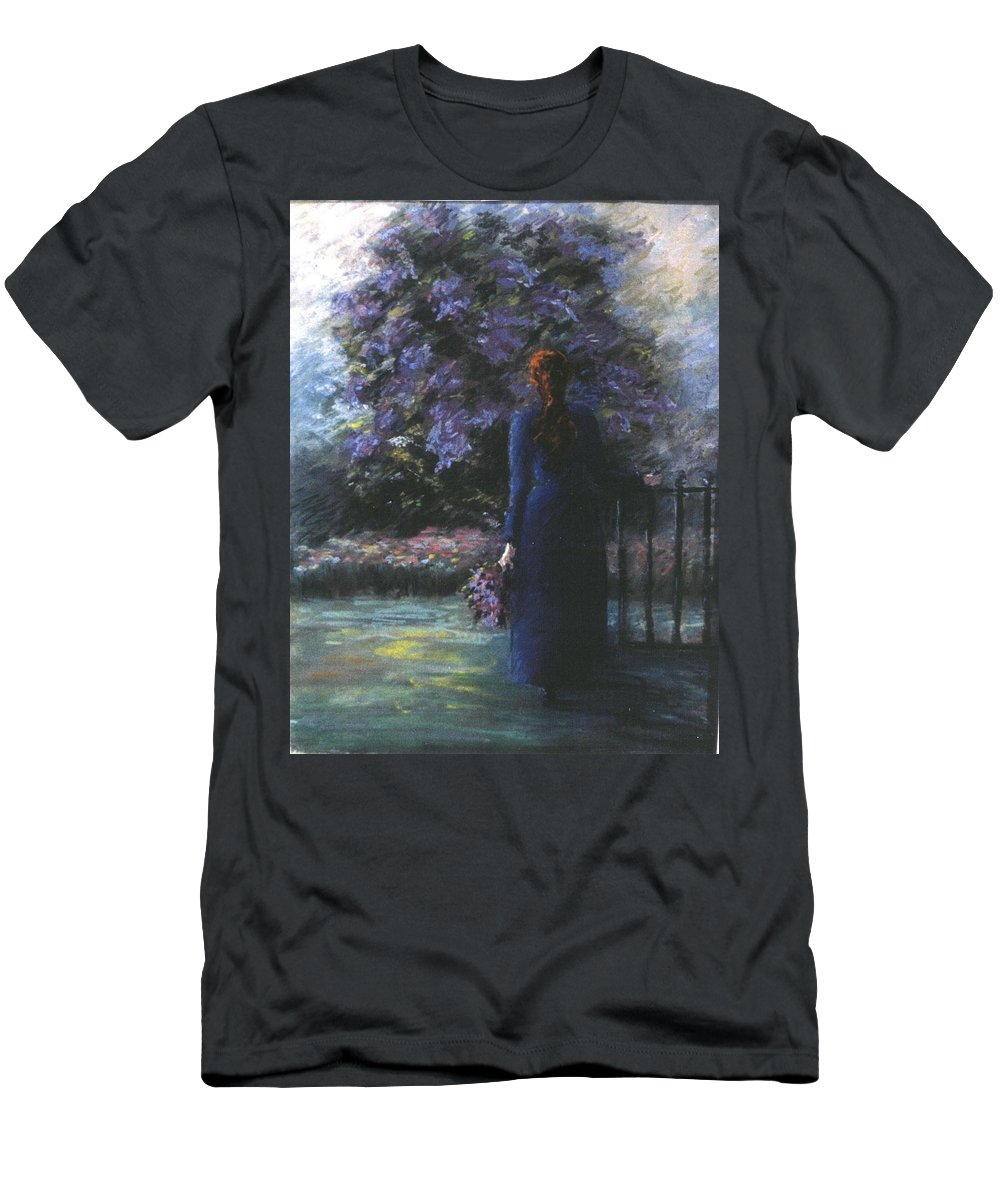 Woman Lilac Flower Tree Men's T-Shirt (Athletic Fit) featuring the pastel Picking Lilacs by Pat Snook