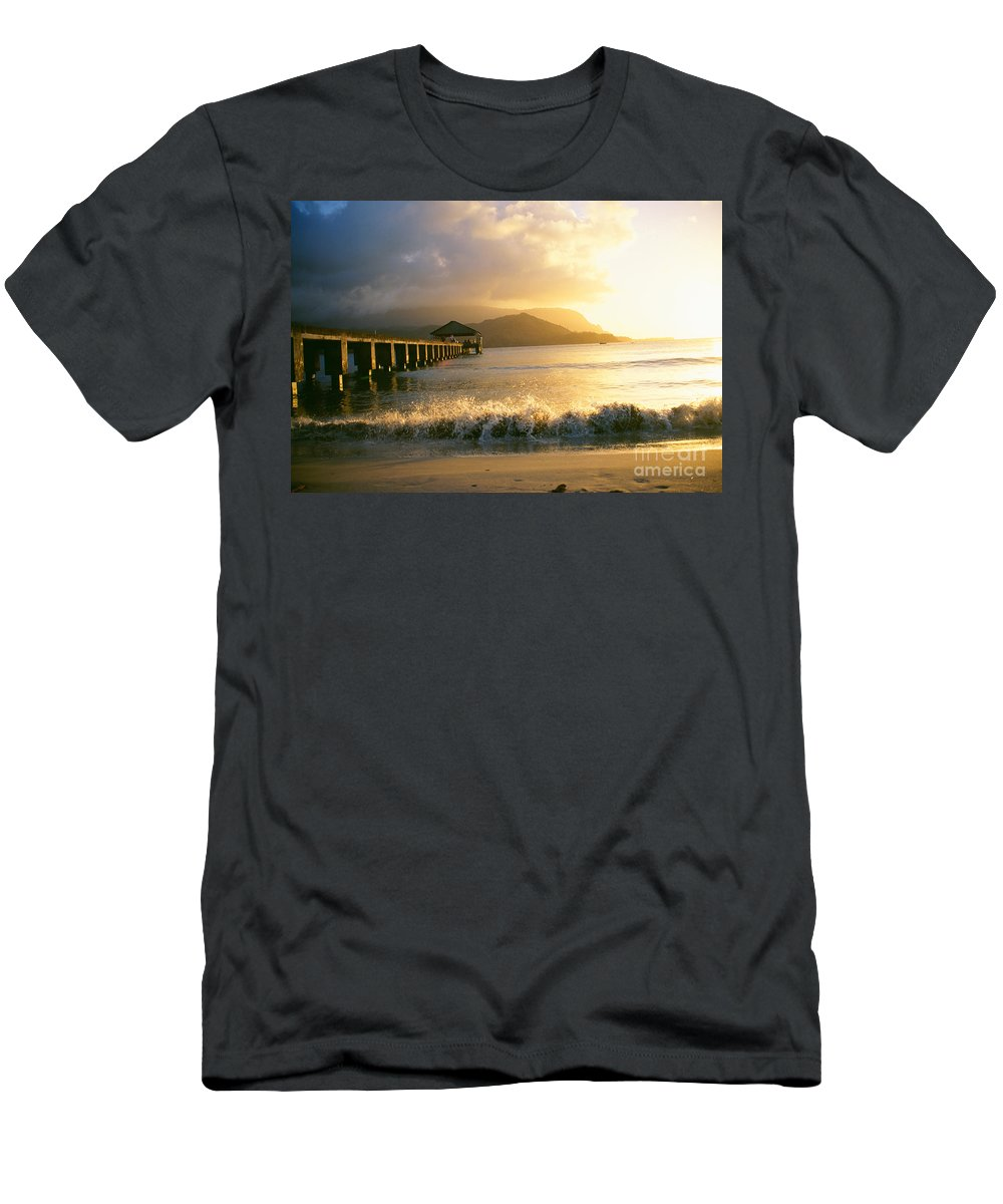 Afternoon Men's T-Shirt (Athletic Fit) featuring the photograph Pier At Sunset by Peter French - Printscapes