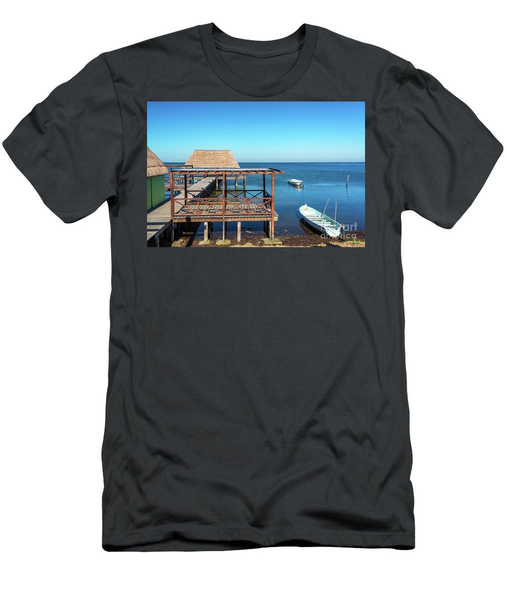 Champoton Men's T-Shirt (Athletic Fit) featuring the photograph Pier In Champoton, Mexico by Jess Kraft