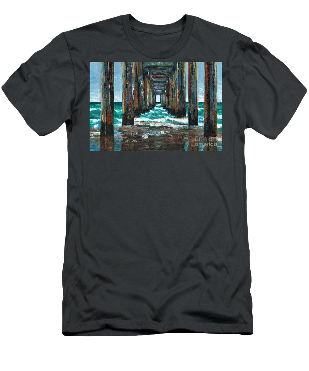 Ocean Men's T-Shirt (Athletic Fit) featuring the painting Pier One by Frances Marino