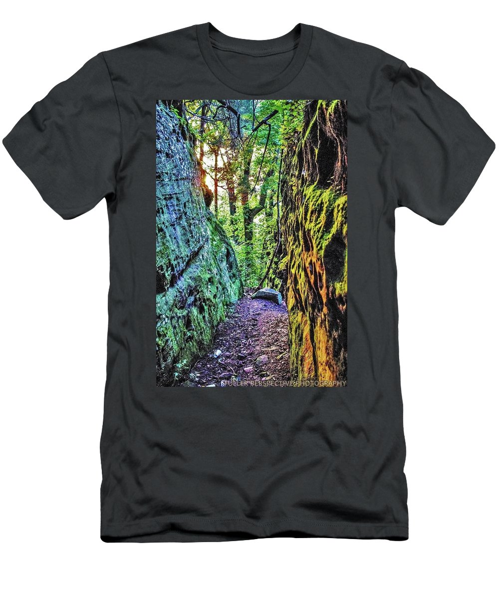 Rocks Men's T-Shirt (Athletic Fit) featuring the photograph Pilot Rock Face by Chad Fuller