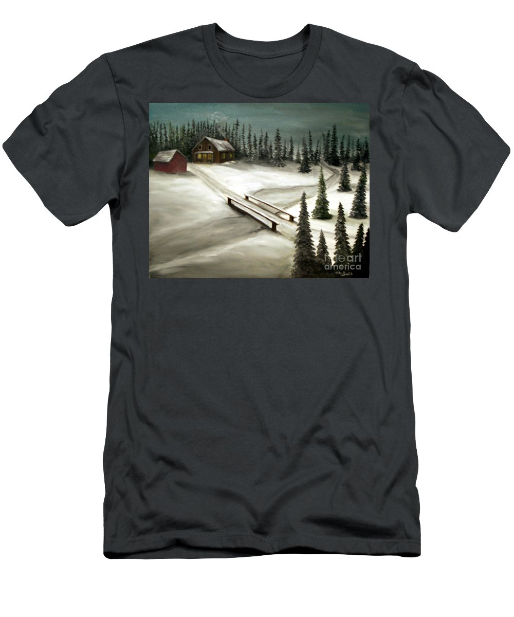 Pines. Homestead Men's T-Shirt (Athletic Fit) featuring the painting Piney Winter by Timothy Smith