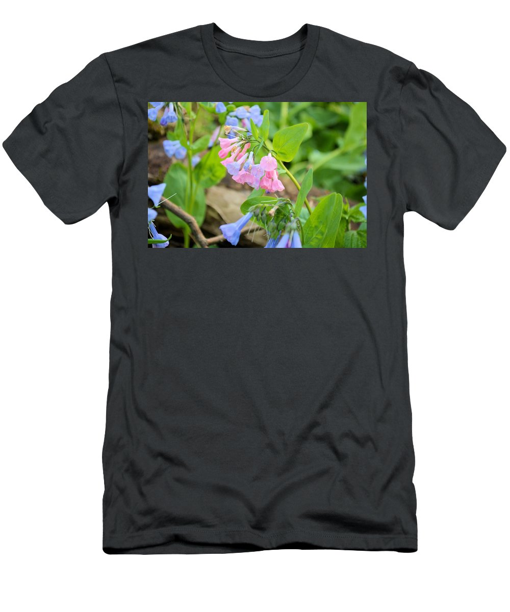 Blue Men's T-Shirt (Athletic Fit) featuring the photograph Pink Bluebells by Bonfire Photography