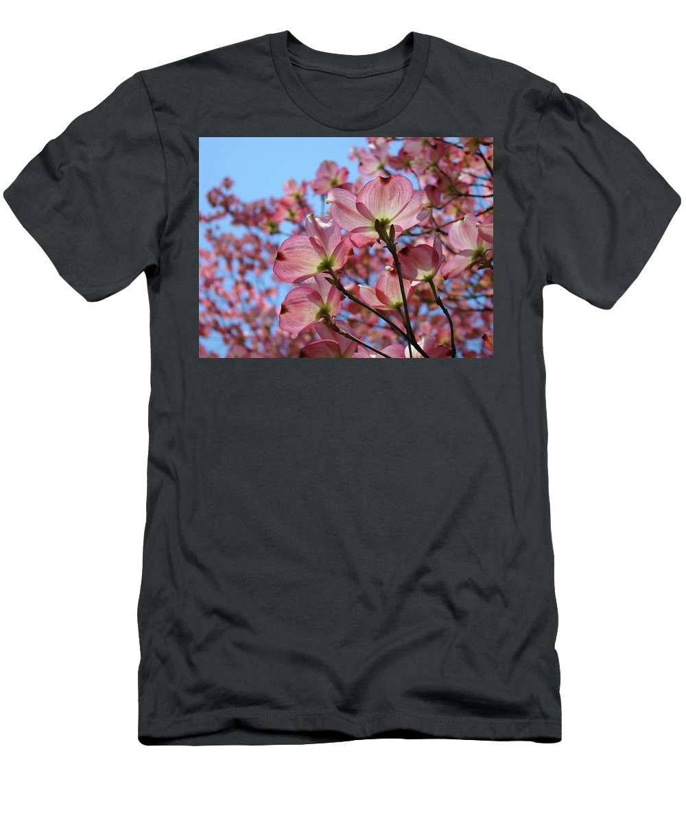 Dogwood Men's T-Shirt (Athletic Fit) featuring the photograph Pink Dogwood Flowers Landscape 11 Blue Sky Botanical Artwork Baslee Troutman by Baslee Troutman