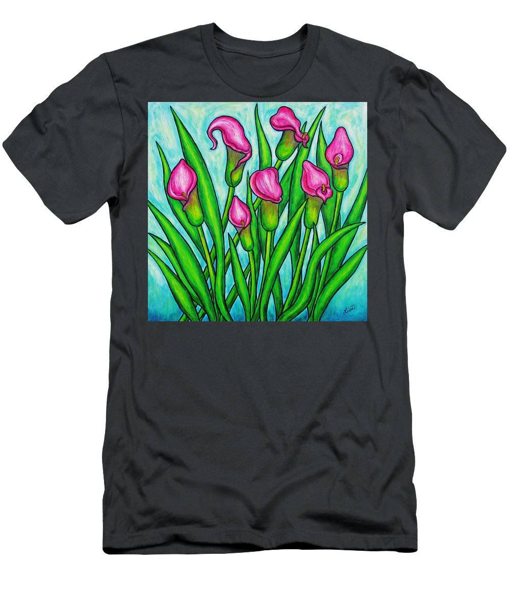 Lisa Lorenz Men's T-Shirt (Athletic Fit) featuring the painting Pink Ladies by Lisa Lorenz