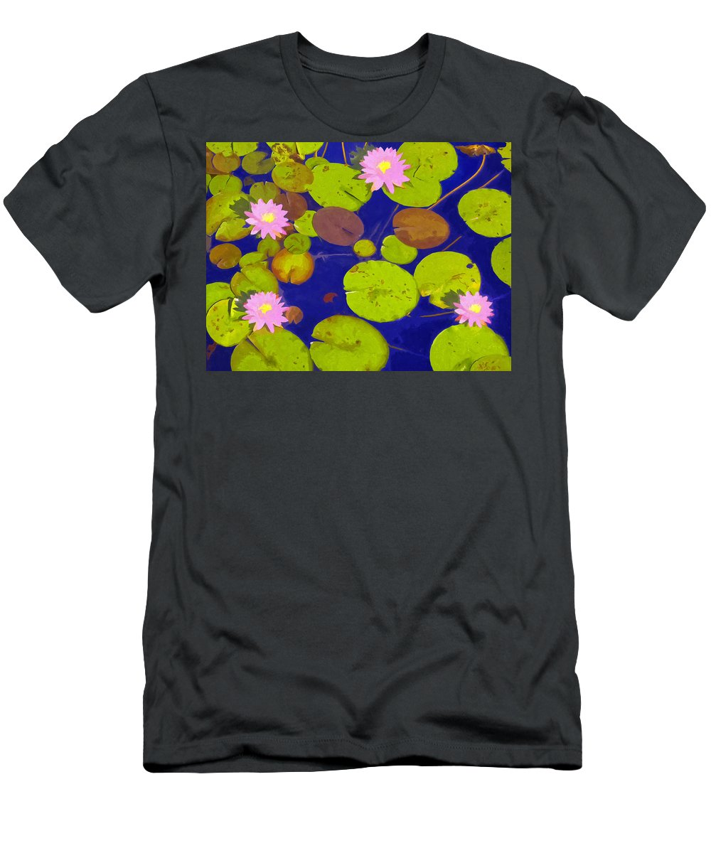 Waterlily Men's T-Shirt (Athletic Fit) featuring the painting Pink Lotus Blossoms by Dominic Piperata