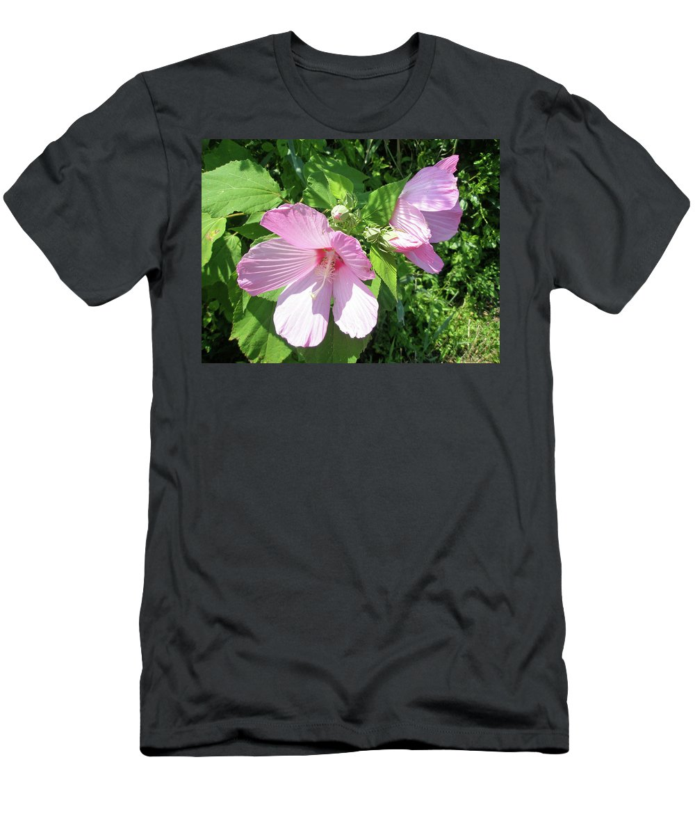 Hibiscus Men's T-Shirt (Athletic Fit) featuring the photograph Pink Marsh Mallow Wildflower by Mother Nature