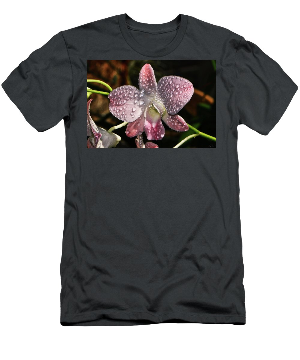 Orchid Men's T-Shirt (Athletic Fit) featuring the photograph Pink Orchid And Dewdrops 013 by George Bostian