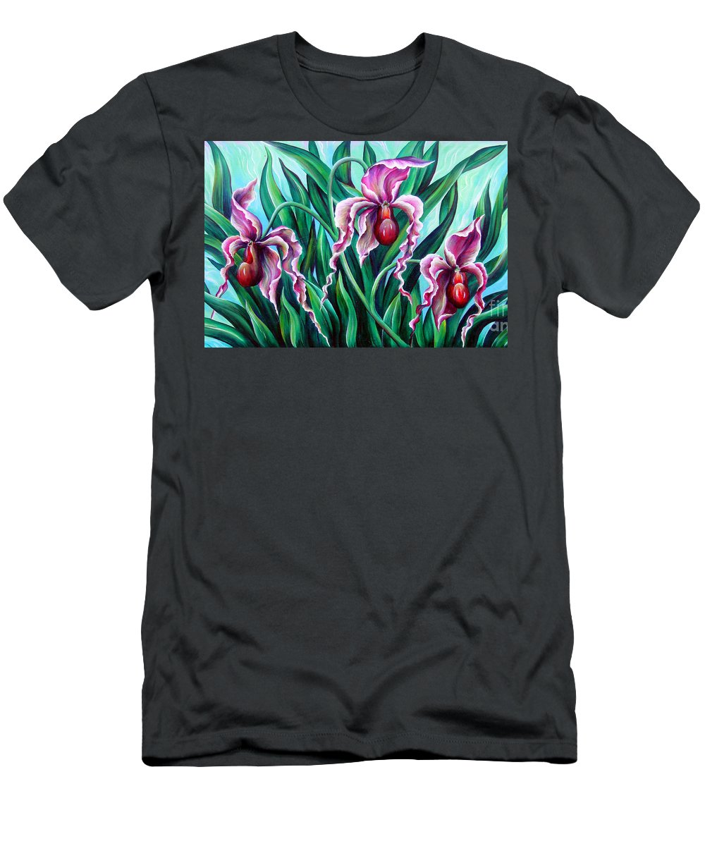 Orchid Men's T-Shirt (Athletic Fit) featuring the painting Pink Orchids by Sofia Metal Queen