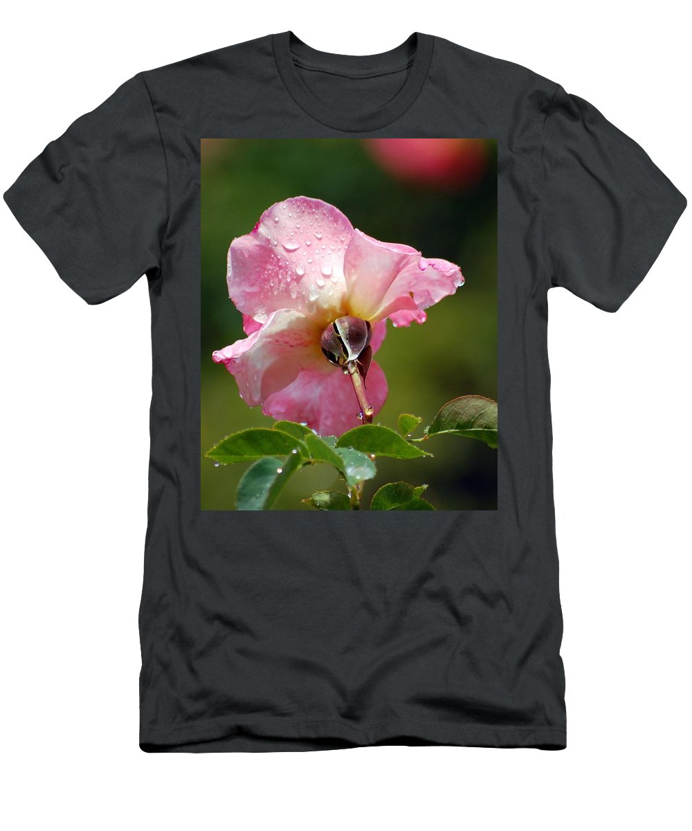 Rose Men's T-Shirt (Athletic Fit) featuring the photograph Pink Rose In The Rain 2 by Amy Fose