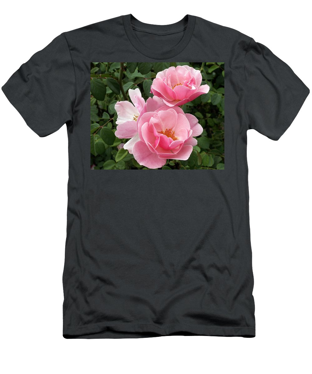 Pink Roses Men's T-Shirt (Athletic Fit) featuring the photograph Pink Roses 2 by Amy Fose