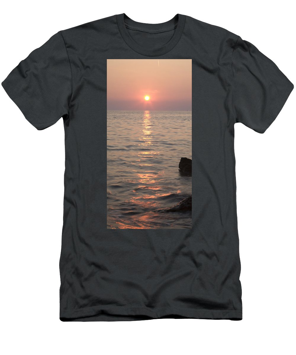Sea Men's T-Shirt (Athletic Fit) featuring the photograph Pink Sunset Over The Istrian Peninsula by Ian Middleton