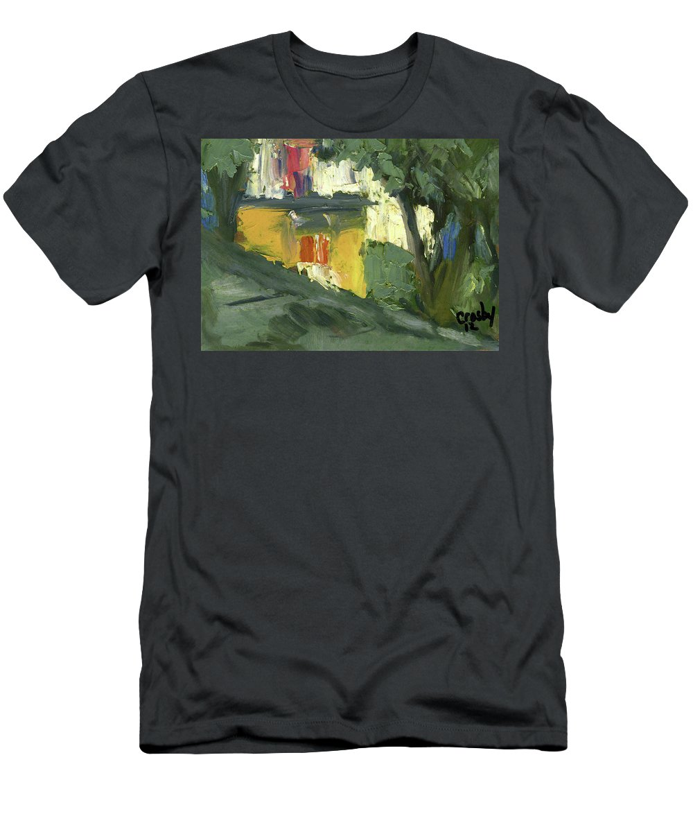 Oil Men's T-Shirt (Athletic Fit) featuring the painting Pink Window by Donna Crosby