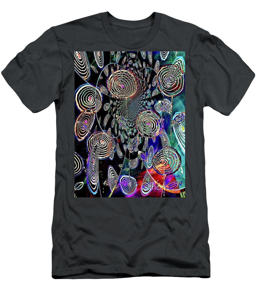 Computer Altered Men's T-Shirt (Athletic Fit) featuring the painting Pinwheels Of Fun by Kathy Othon