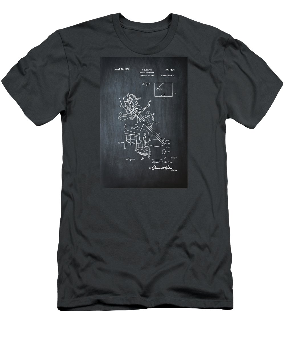 Pitch Men's T-Shirt (Athletic Fit) featuring the photograph Pitch Fork Fiddle And Drum Patent 1936 - Chalk by Bill Cannon