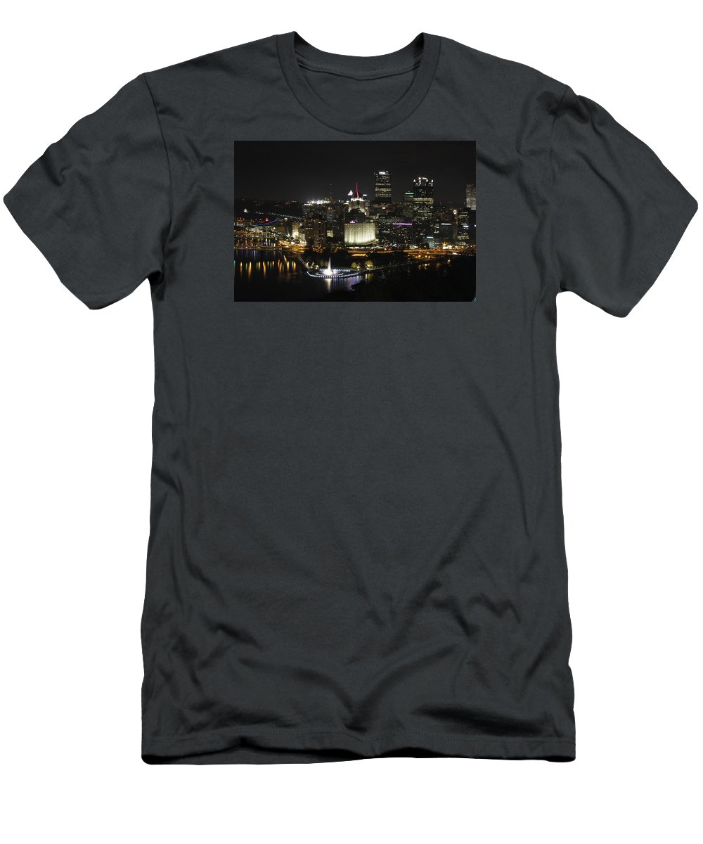 Cityscape Men's T-Shirt (Athletic Fit) featuring the photograph Pittsburgh At Night by Ronald Fleischer