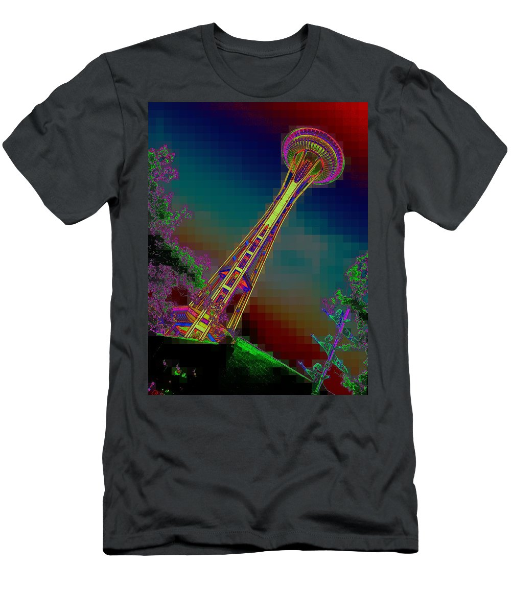 Seattle Men's T-Shirt (Athletic Fit) featuring the photograph Pixel Needle by Tim Allen