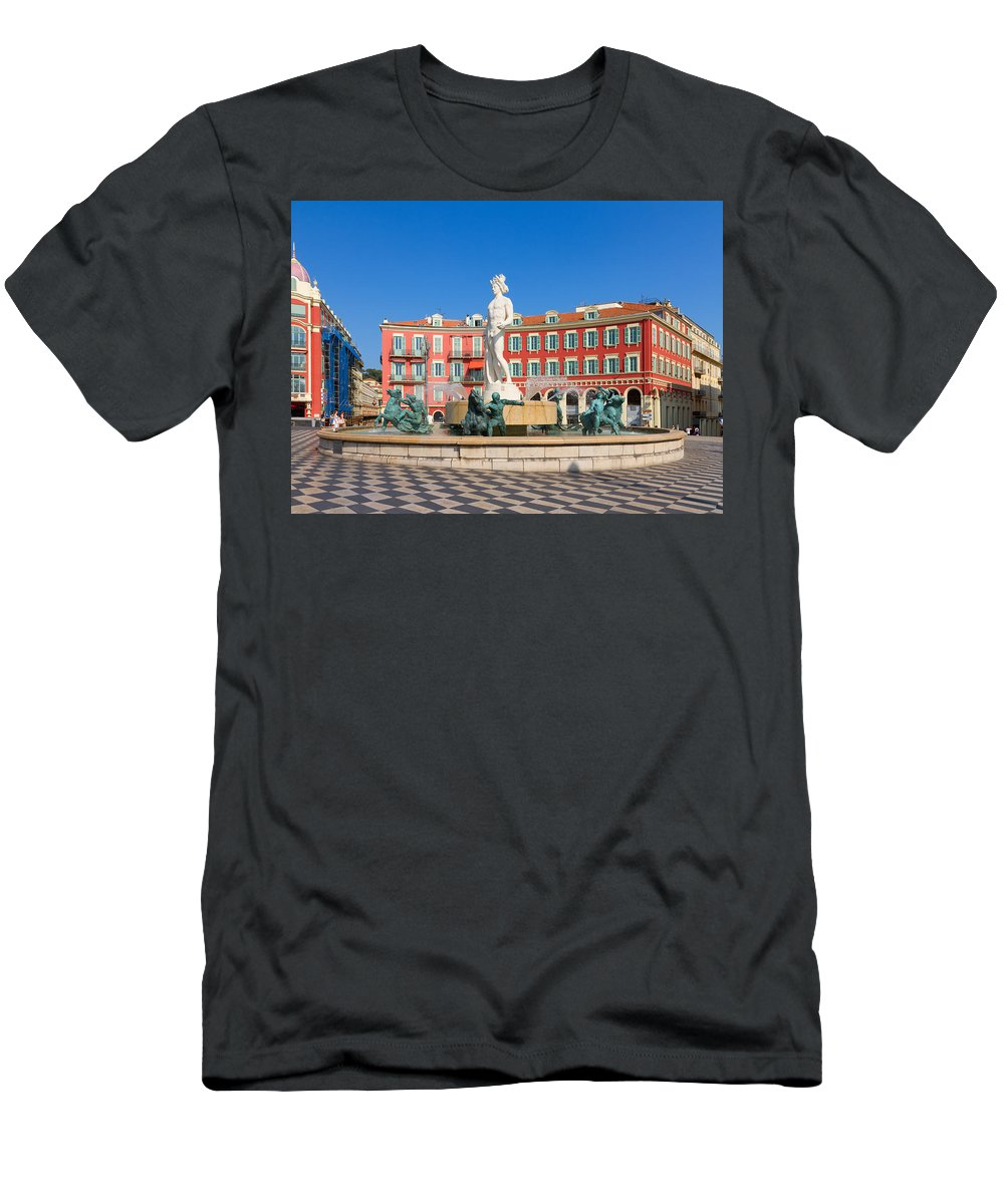 Nice Men's T-Shirt (Athletic Fit) featuring the photograph Place Massena Of Nice In France by Anastasy Yarmolovich
