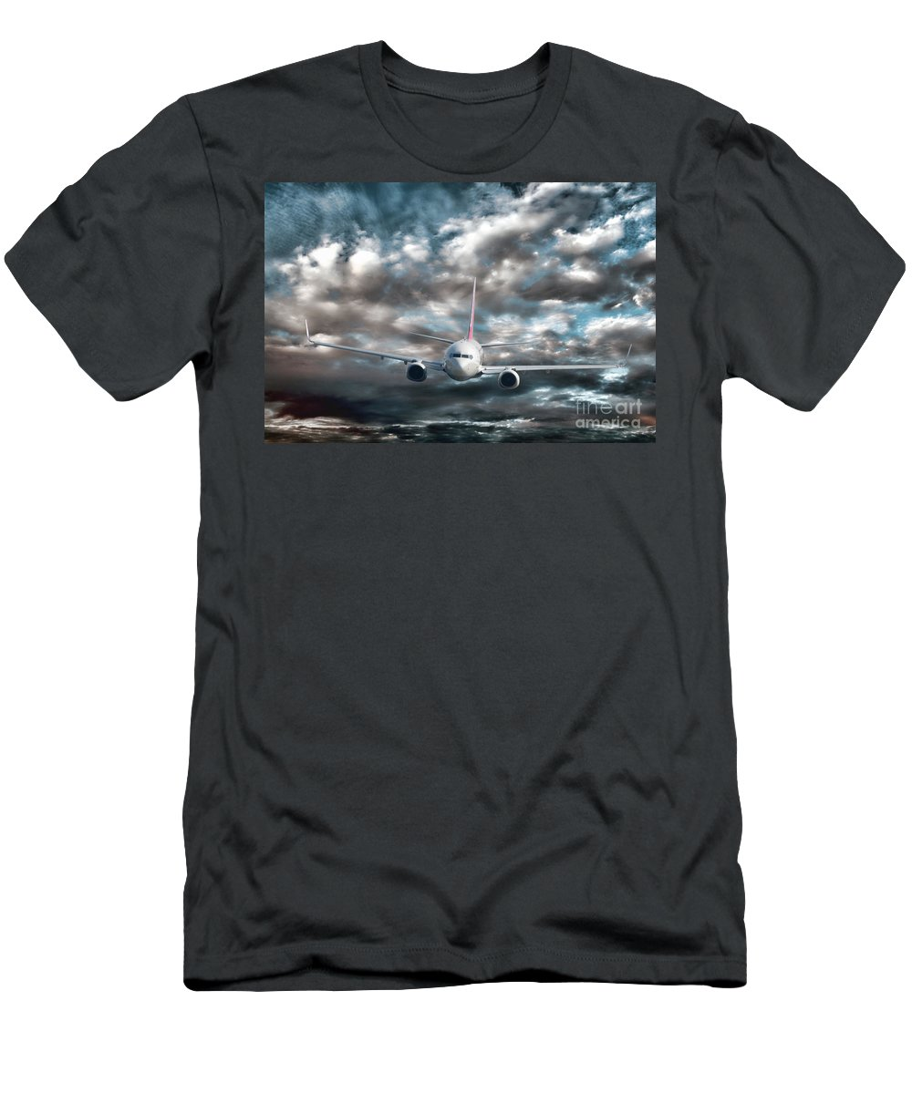 Above Men's T-Shirt (Athletic Fit) featuring the photograph Plane In Storm by Olivier Le Queinec