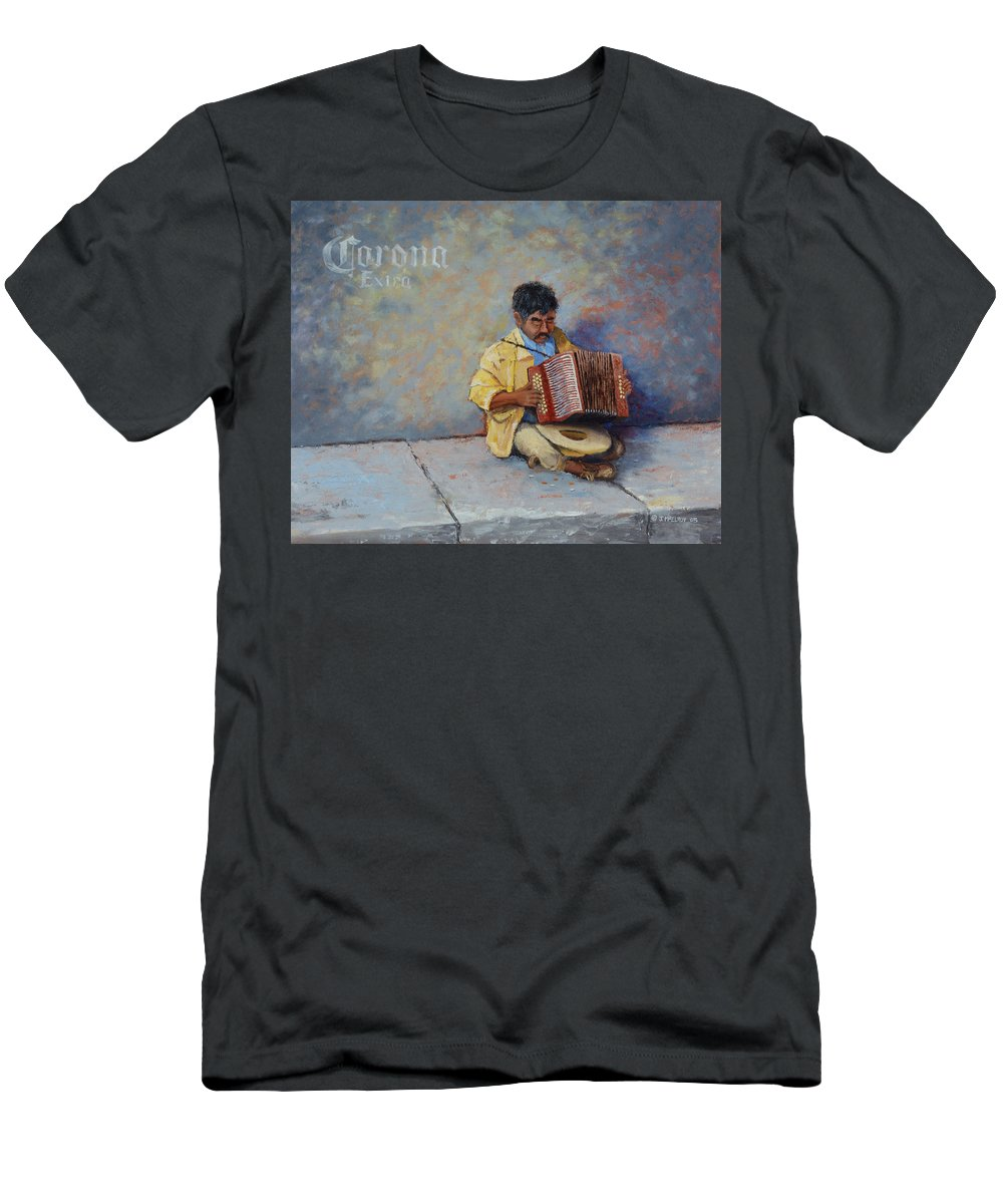 Mexico Men's T-Shirt (Athletic Fit) featuring the painting Playing For Pesos by Jerry McElroy