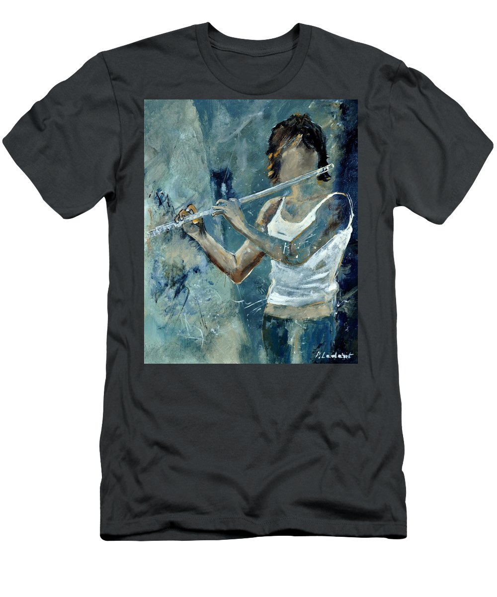 Music Men's T-Shirt (Athletic Fit) featuring the painting Playing The Flute by Pol Ledent