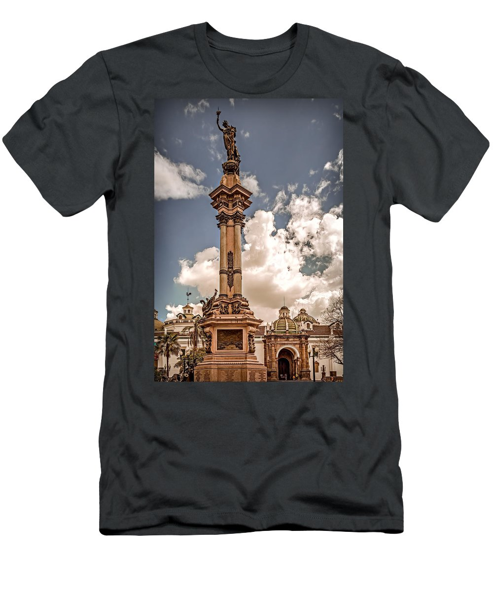 Monument Men's T-Shirt (Athletic Fit) featuring the photograph Plaza Grande by Maria Coulson