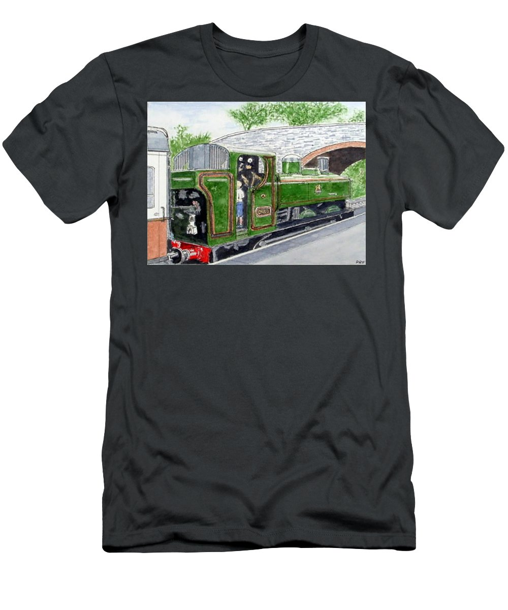 Landscape Railways  Men's T-Shirt (Athletic Fit) featuring the painting Please May I Drive? - Llangollen Steam Railway, North Wales by Peter Farrow