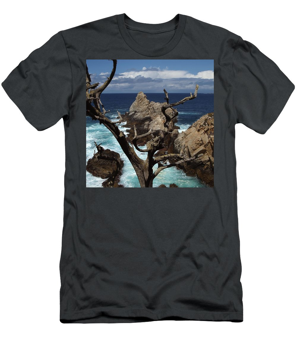 Carmel T-Shirt featuring the photograph Point Lobos Rocks and Branches by Charlene Mitchell