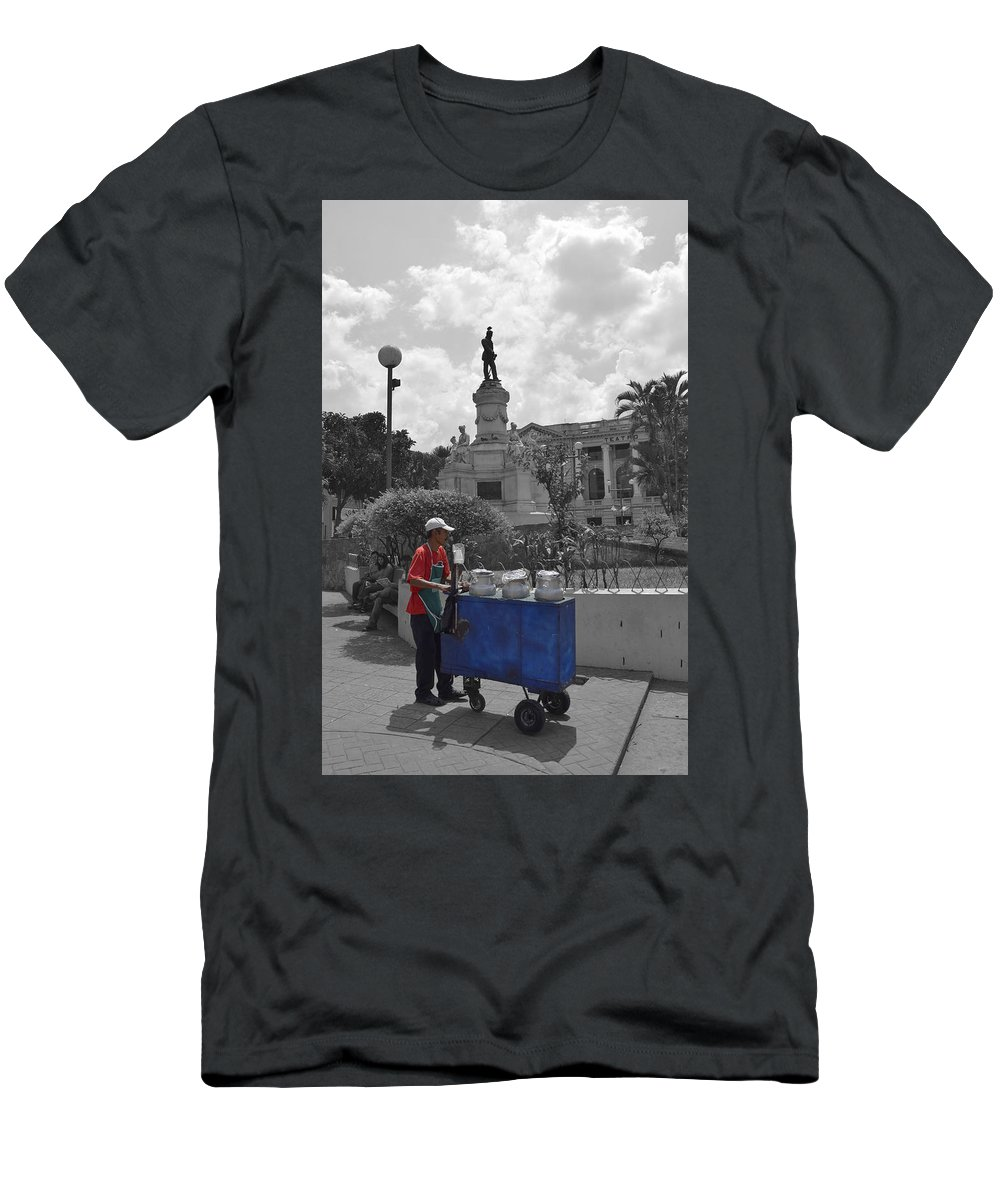 Centro Historico Men's T-Shirt (Athletic Fit) featuring the photograph Poleada Vendor by Totto Ponce