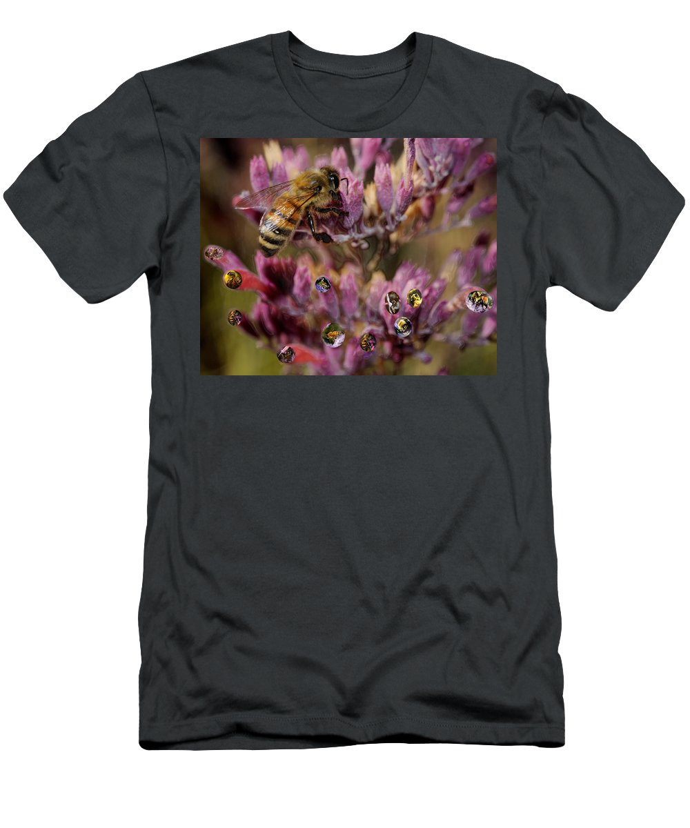 Bee. Cutter Men's T-Shirt (Athletic Fit) featuring the digital art Pollen Bees by Roger Medbery