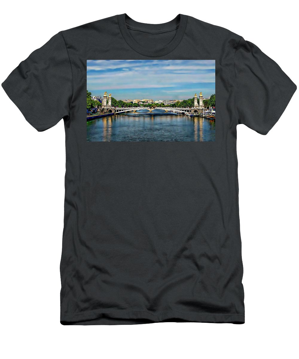 France Men's T-Shirt (Athletic Fit) featuring the photograph Pont Alexandre IIi by Anthony Dezenzio