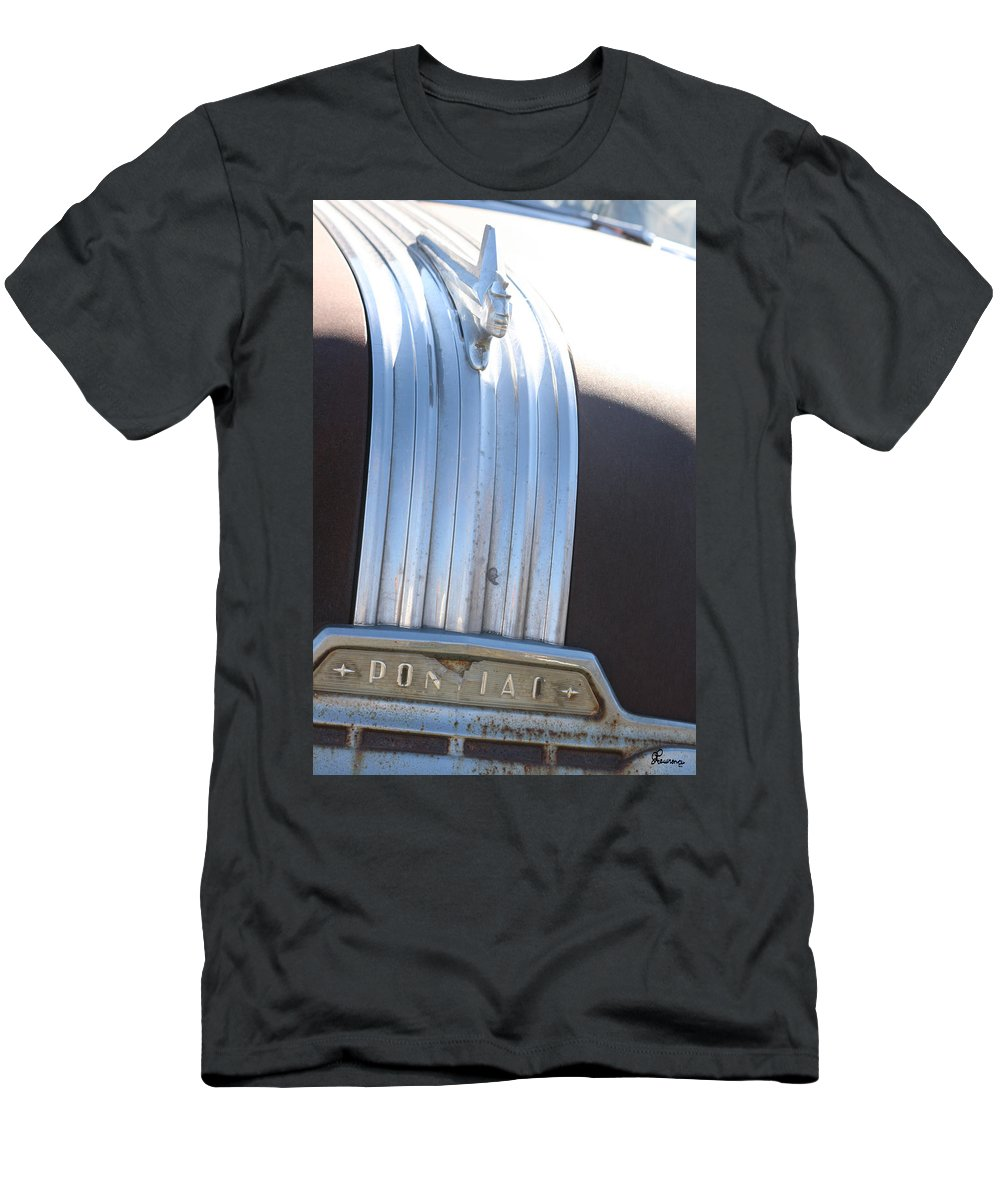 Old Antique Pontiac Car 1950s Hood Ornament Vehicle Men's T-Shirt (Athletic Fit) featuring the photograph Pontiac by Andrea Lawrence