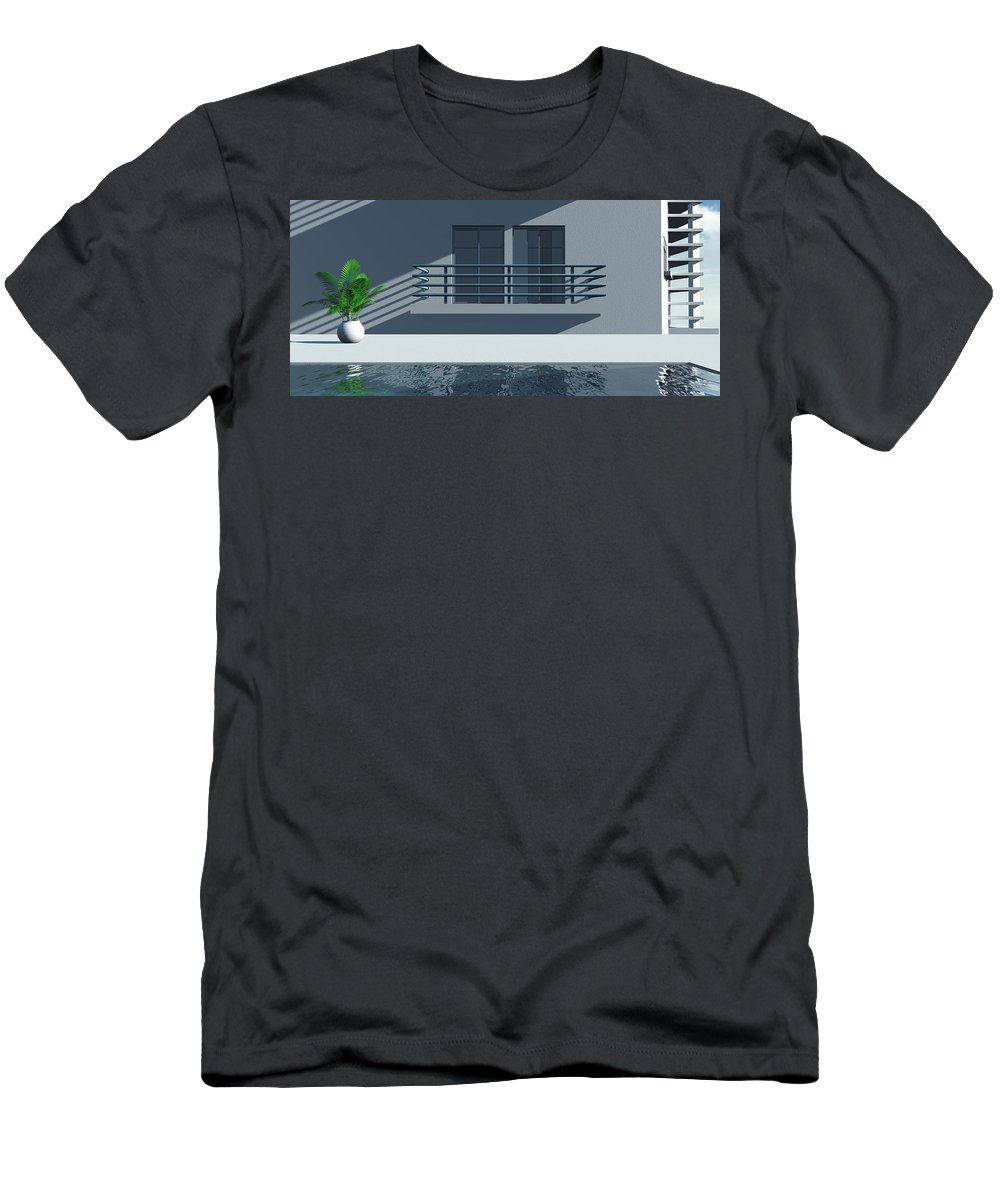 Abstract Men's T-Shirt (Athletic Fit) featuring the digital art Pool Side by Richard Rizzo