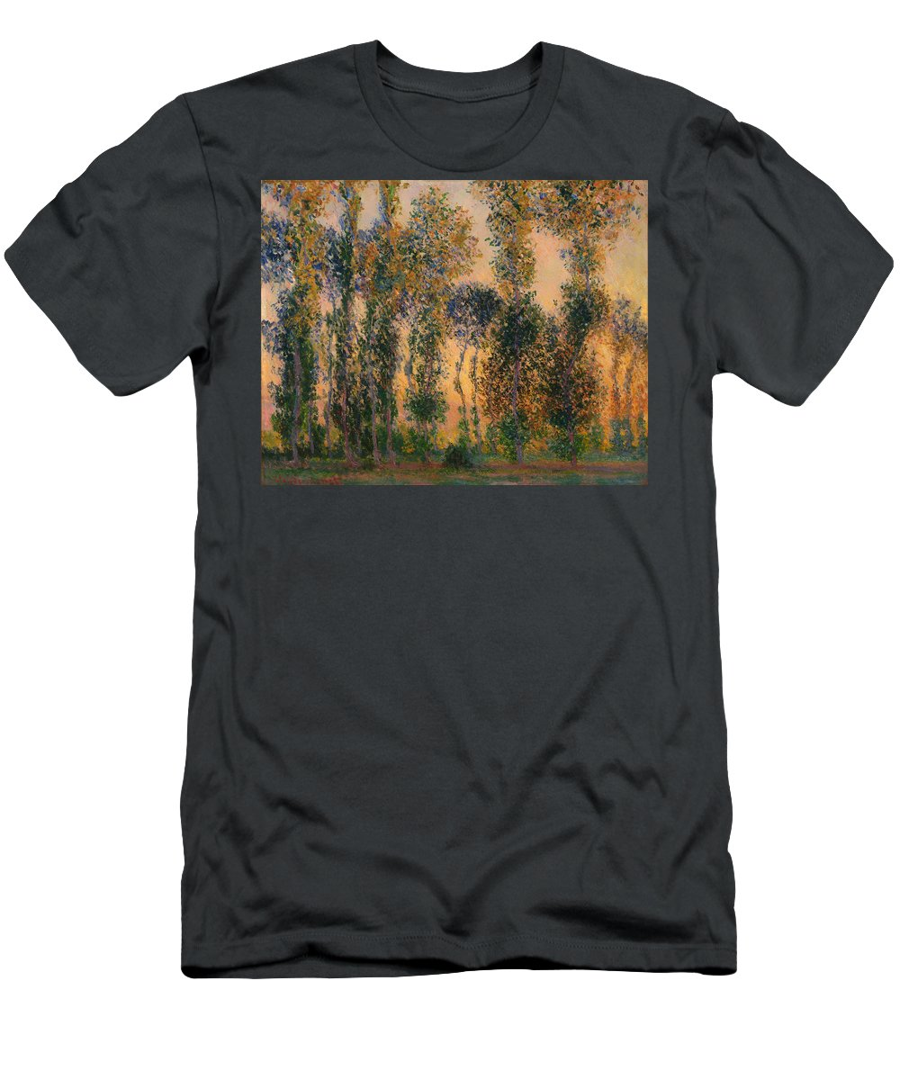 Painting Men's T-Shirt (Athletic Fit) featuring the painting Poplars At Giverny - Sunrise by Mountain Dreams
