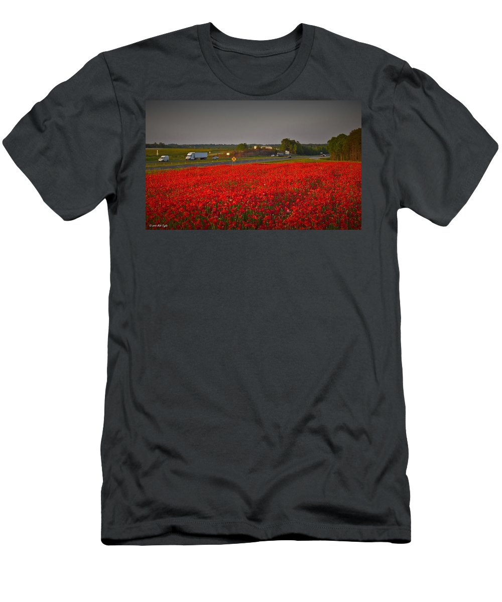 Nature Men's T-Shirt (Athletic Fit) featuring the photograph Poppies Along I-85 by Matt Taylor