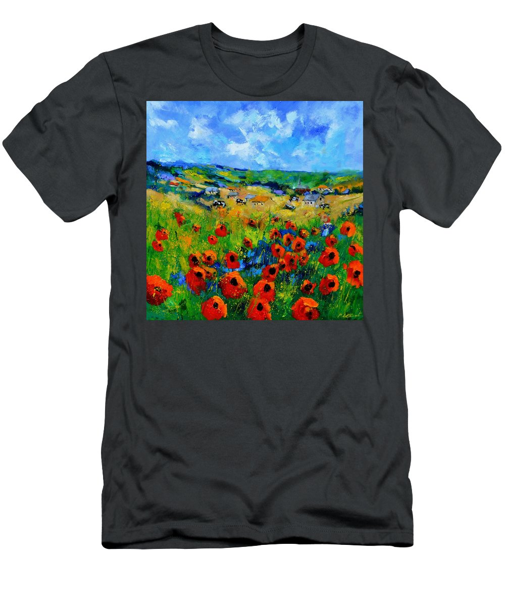 Landscape T-Shirt featuring the painting Poppies in Ieper by Pol Ledent