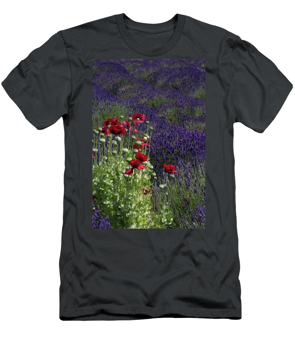 Poppies Men's T-Shirt (Athletic Fit) featuring the photograph Poppies In Lavender by Gary W Baird