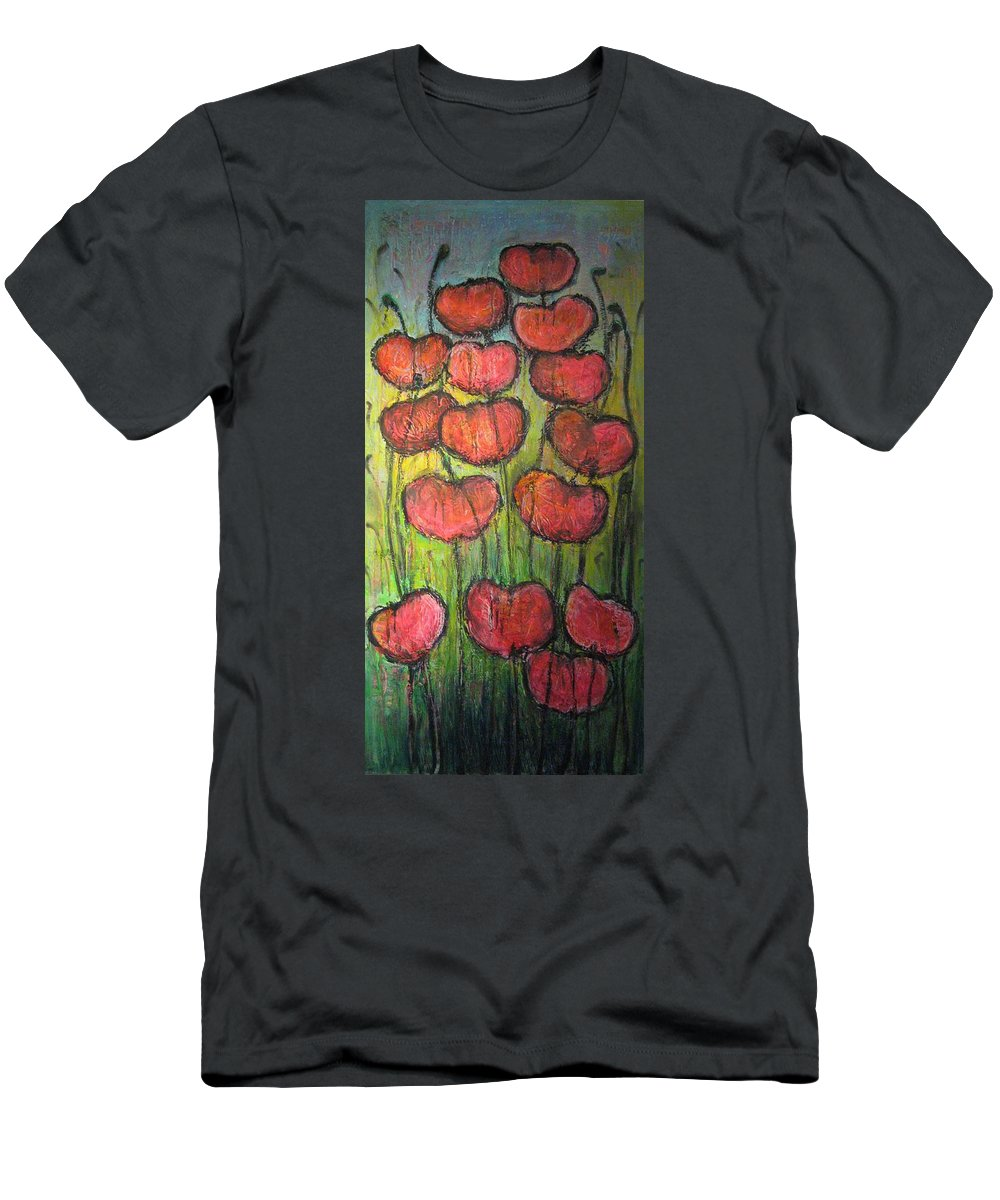 Poppies Men's T-Shirt (Athletic Fit) featuring the painting Poppies In Oil by Laurie Maves ART