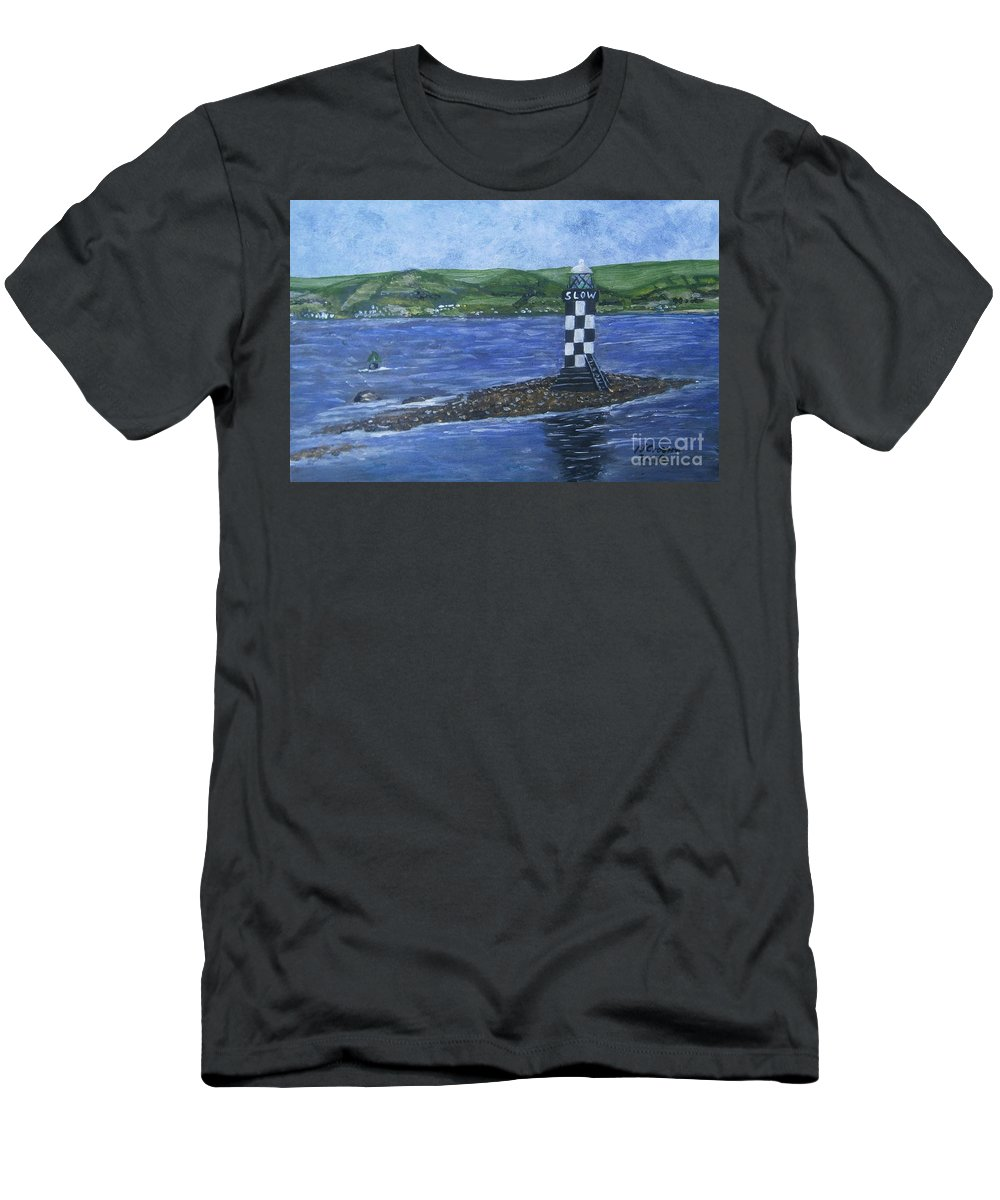 #portglasgow Men's T-Shirt (Athletic Fit) featuring the painting Port Glasgow, Perch Lighthouse by Neal Crossan