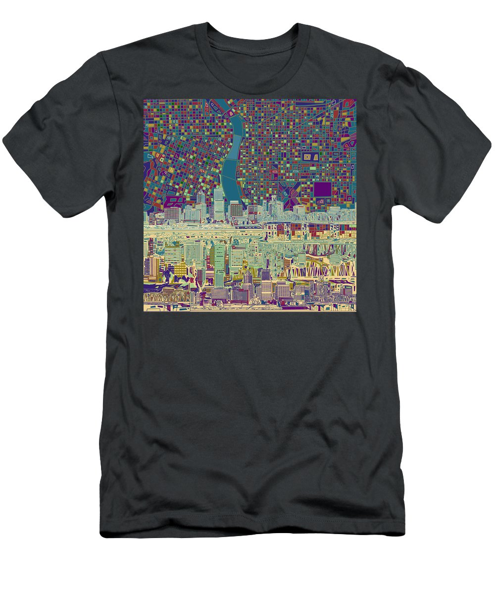Portland Men's T-Shirt (Athletic Fit) featuring the painting Portland Skyline Abstract 7 by Bekim M