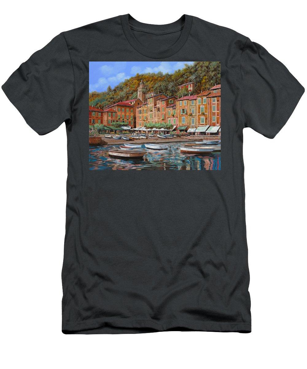 Portofino Men's T-Shirt (Athletic Fit) featuring the painting Portofino-la Piazzetta E Le Barche by Guido Borelli