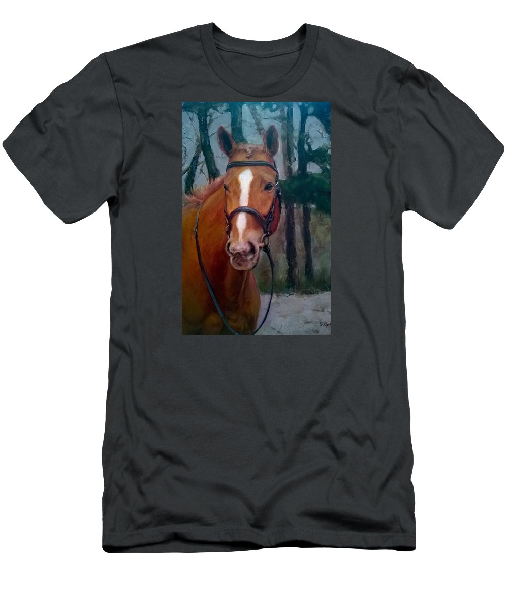 Horse Men's T-Shirt (Athletic Fit) featuring the painting Portrait Of A Horse by Dorothy Siclare