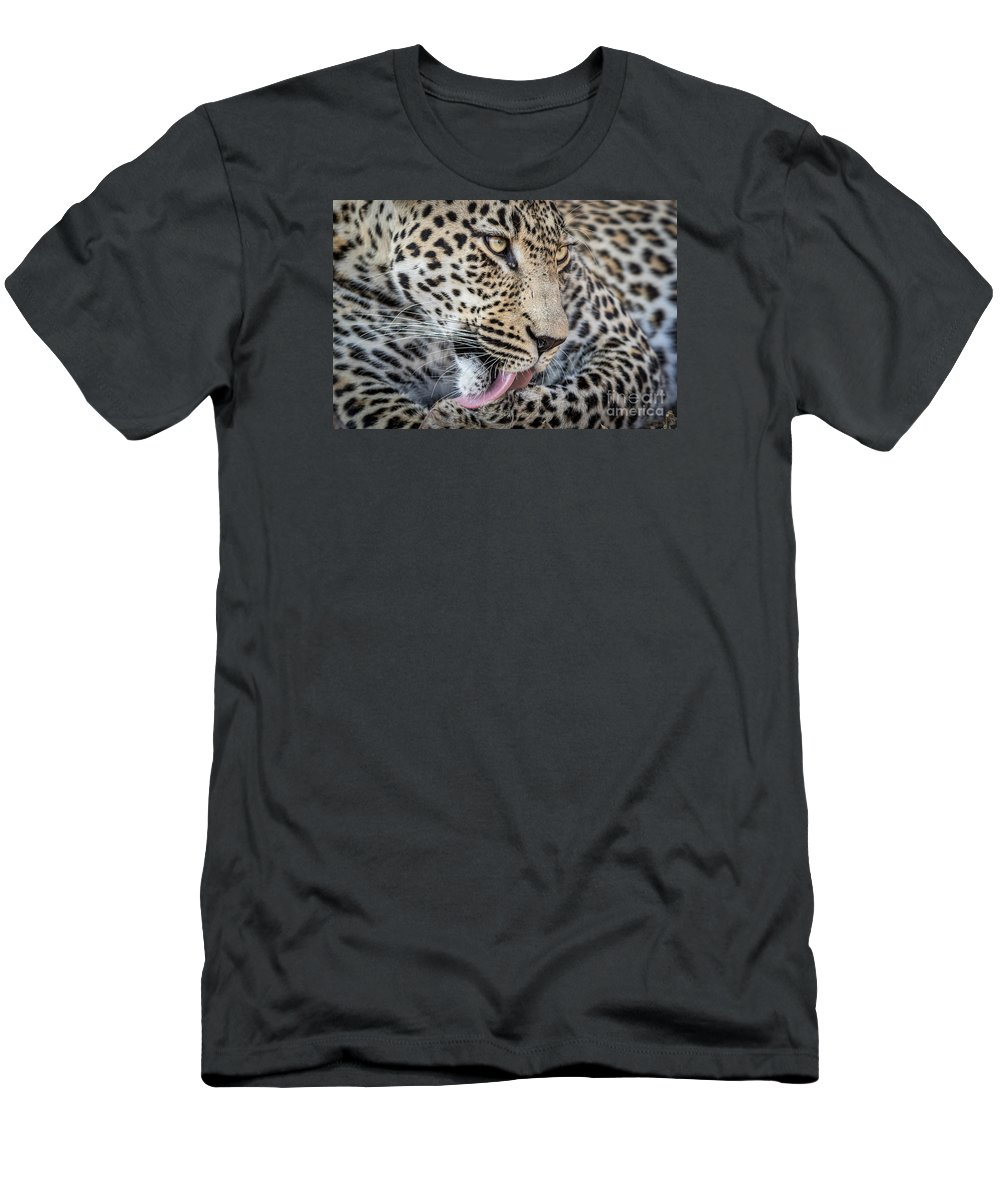 Action Men's T-Shirt (Athletic Fit) featuring the photograph Portrait Of A Leopard by Stephan Olivier
