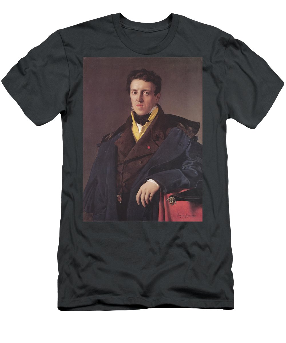 Jean Auguste Dominique Ingres Men's T-Shirt (Athletic Fit) featuring the painting Portrait Of A Man by MotionAge Designs