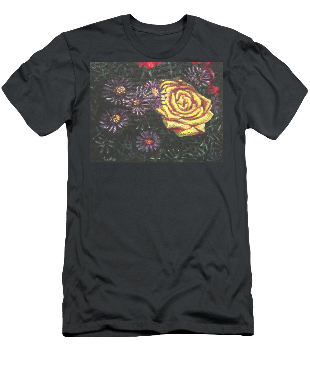 Yellow Men's T-Shirt (Athletic Fit) featuring the painting Portrait Of A Rose 7 by Usha Shantharam